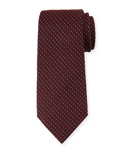 Micro-Tic Silk Tie, Red