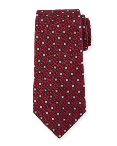 Box-On-Jacquard Silk Tie, Red
