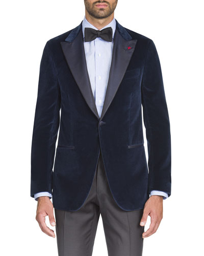 Men's Velvet Satin-Lapel Dinner Jacket
