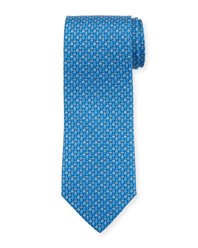Salvatore Ferragamo Foglia Fir Tree Printed Silk Tie,
