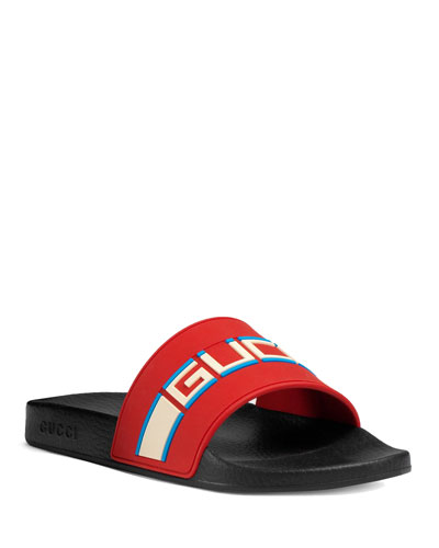 ef288439937 Gucci Stripe Rubber Slide Sandal