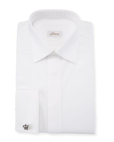 Men's Geometric-Weave French-Cuff Formal Shirt