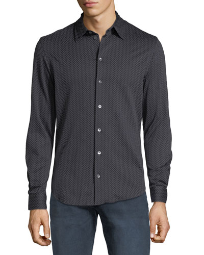Men's Chevron-Print Sport Shirt