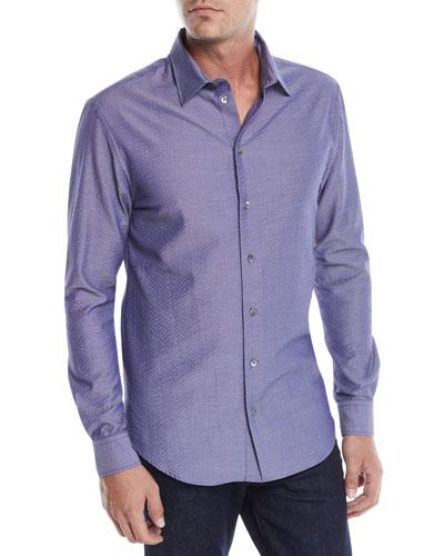 Men's Seersucker Sport Shirt, Blue/Gray