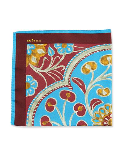 Kiton Large Floral Silk Pocket Square