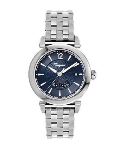 7aa08ad7d7b Men s Feroni GMT Quartz Stainless Steel Bracelet Watch