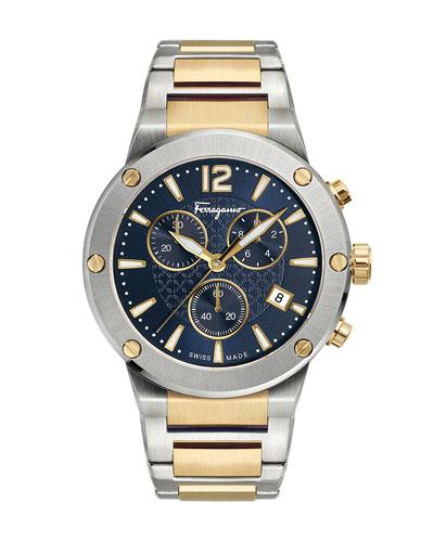 Men's 41mm F-80 Two-Tone Chrono Bracelet Watch, Blue