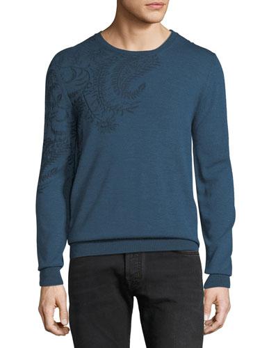 Men's Paisley-Shoulder Crewneck Sweater