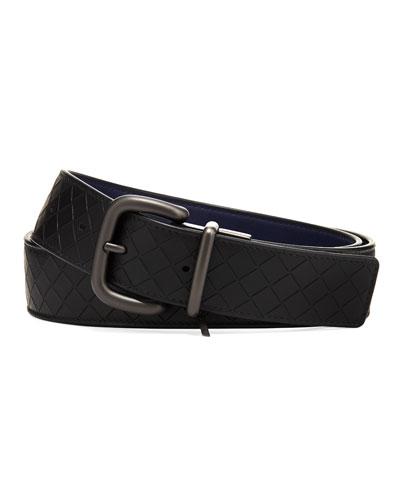 Bottega Veneta Men's Reversible Intrecciato Mirage Leather Belt