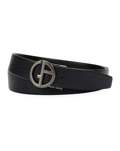 Men's Logo-Buckle Textured Vitello Leather Belt