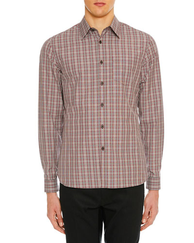 Men's Plaid Patch-Pocket Sport Shirt