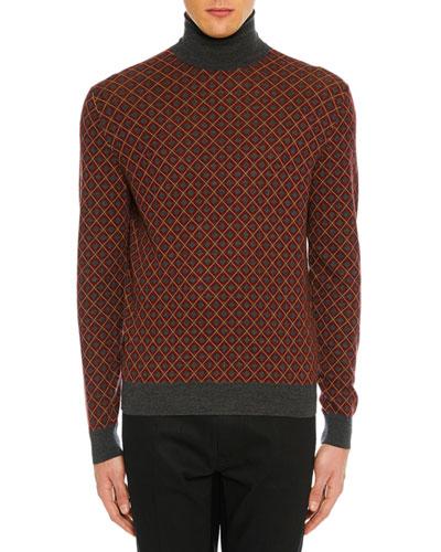 Men's Argyle Turtleneck Sweater