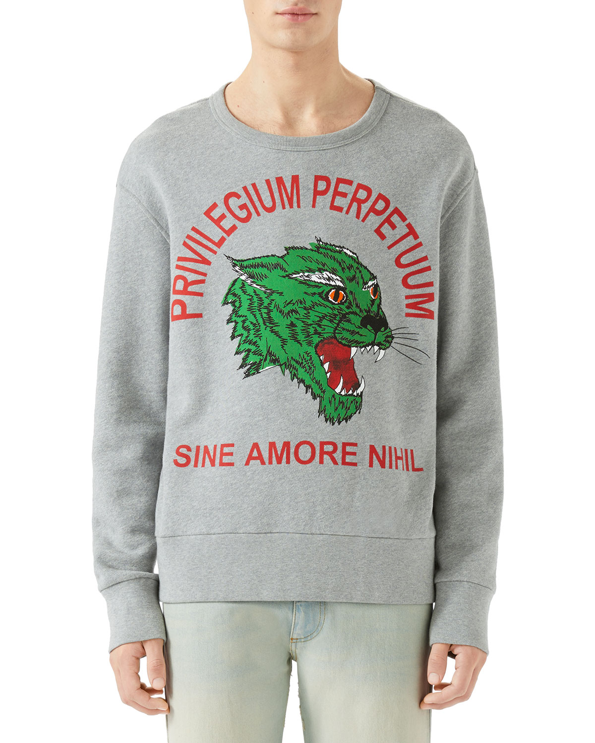 Men's Green Panther Privilegium Graphic Sweatshirt