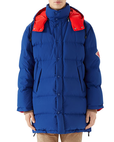 Men's Patched-Sleeve Quilted Down Coat