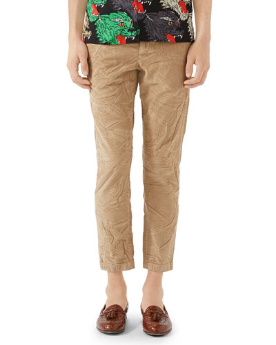Men's Stretch-Corduroy Ankle Pants