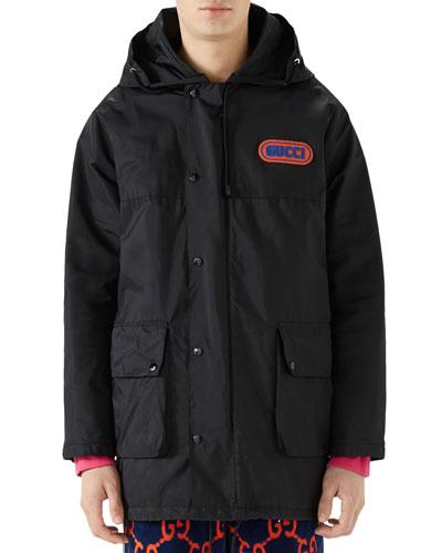 Men's Long Hooded Coat
