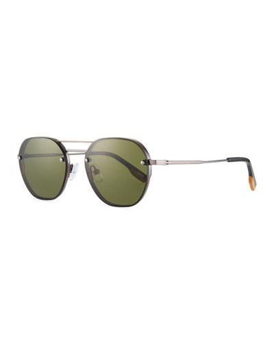 Men's Round Titanium Aviator Sunglasses