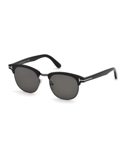 Men's Half-Rim Metal/Acetate Sunglasses - Silvertone Hardware