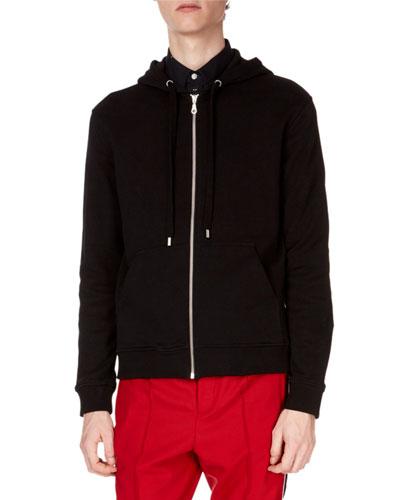 Men's Logo-Hood Zip-Front Hoodie Cotton Jacket