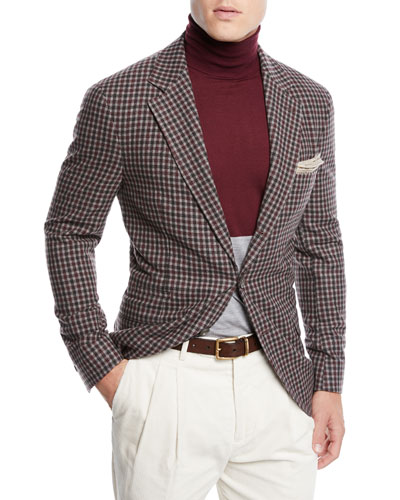 Men's Check Wool Three-Button Sport Coat Jacket