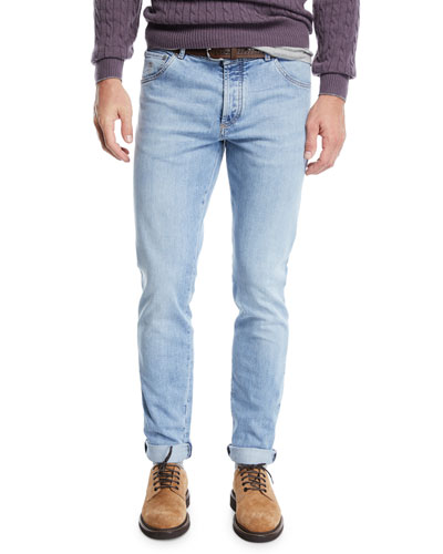 Men's 5-Pocket Light-Wash Jeans