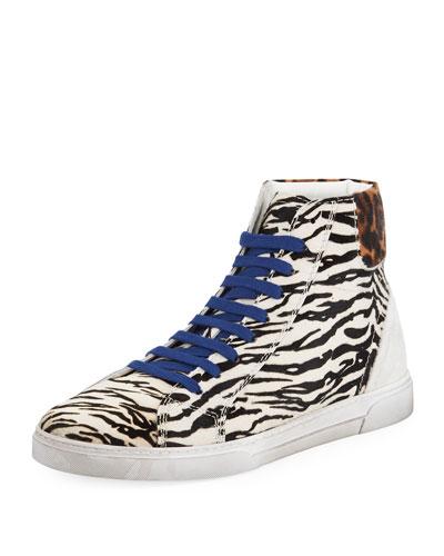 Men's Joe Chess Animal-Print Leather High-Top Sneakers