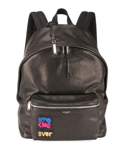 Saint Laurent Men's City Appliqué Leather Backpack