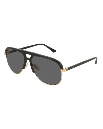 Gucci Men's Shield Metal Sunglasses