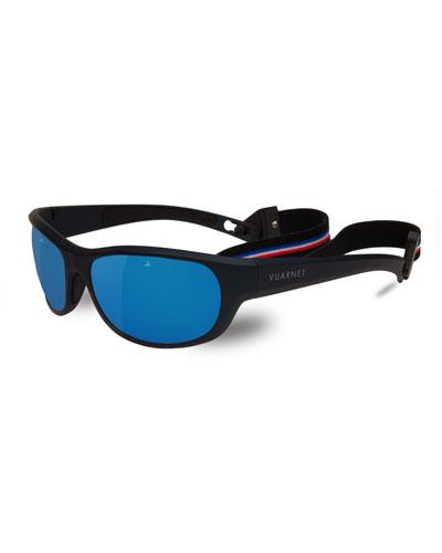 Men's Matt Mirror Nylon Wrap Sunglasses with Removable Strap