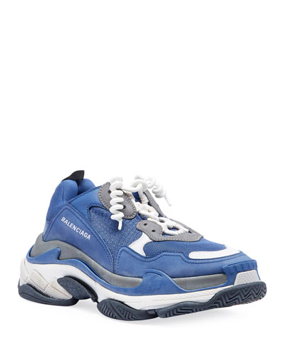 Men's Triple S Mesh & Leather Sneakers, Blue/Gray