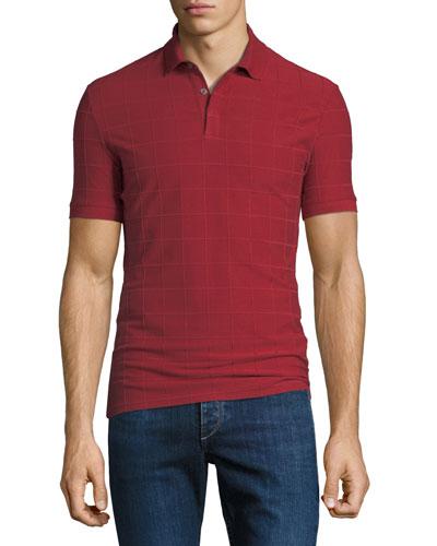 Men's Jacquard Check Polo Shirt