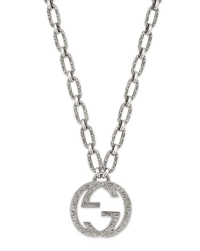 Men's Interlocking G Pendant Necklace, 36