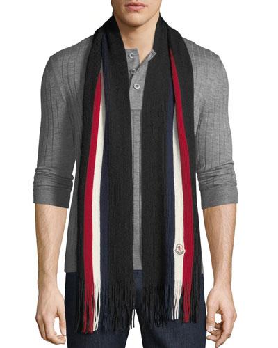 Men's Striped Wool Scarf