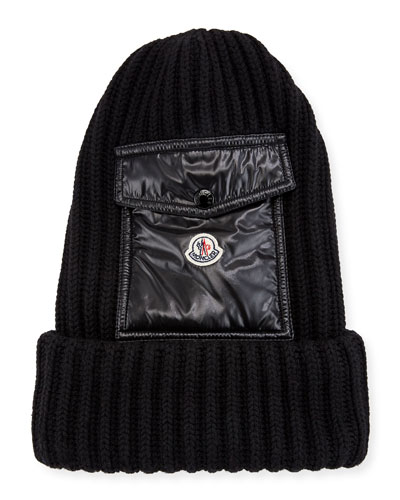 Men's Ribbed Beanie Hat w/ Flap Pocket