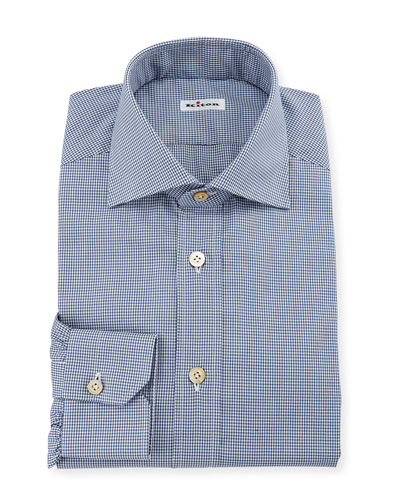 Men's Micro-Check Dress Shirt, Navy
