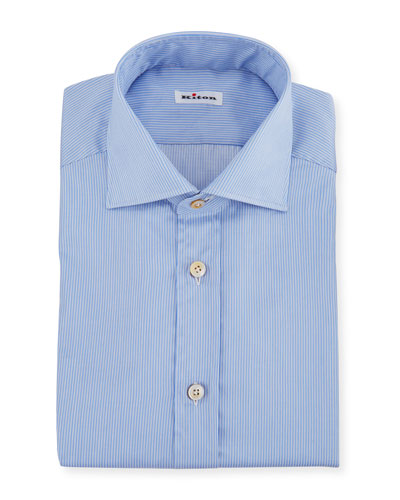 Men's Needle-Stripe Barrel-Cuff Dress Shirt
