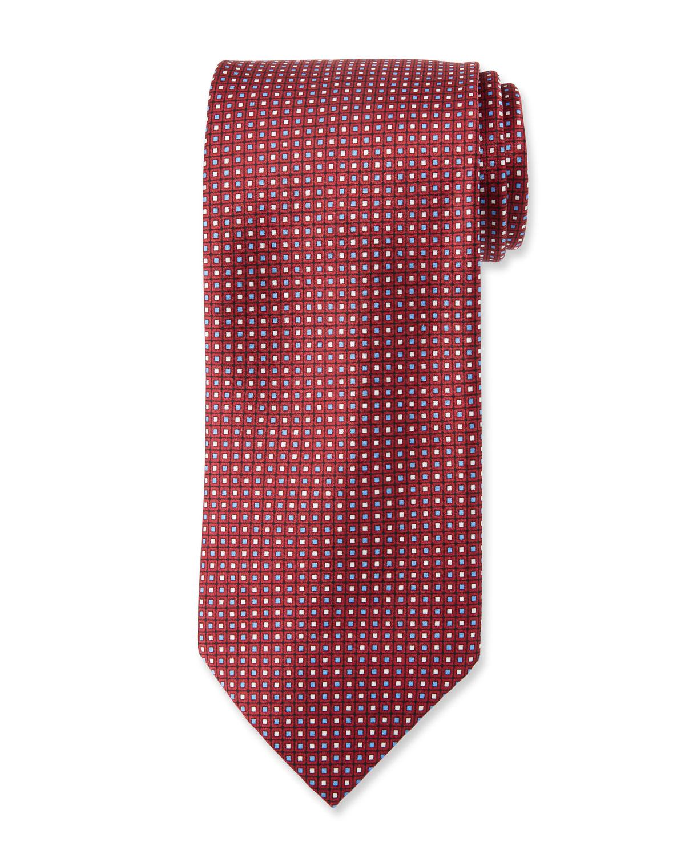 BRIONI Neat Square Silk Tie in Orange
