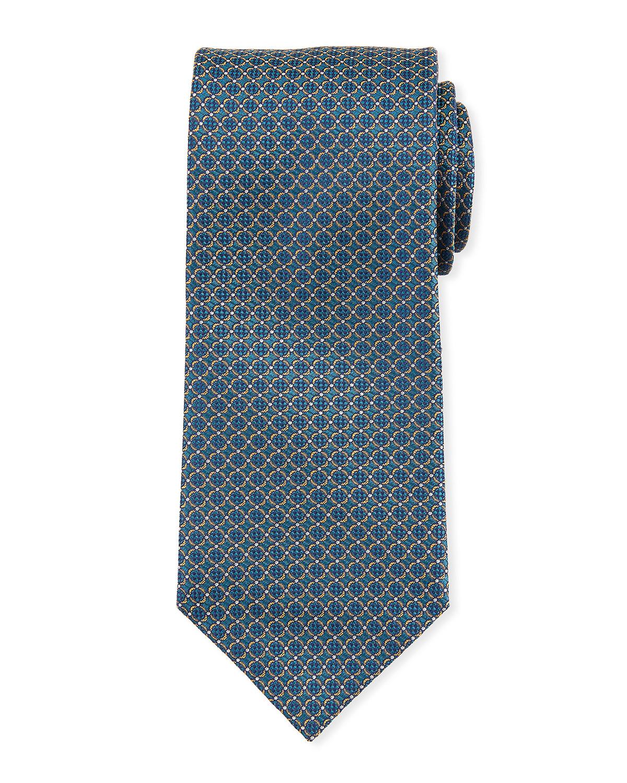 BRIONI Lattice Silk Tie in Green/Blue