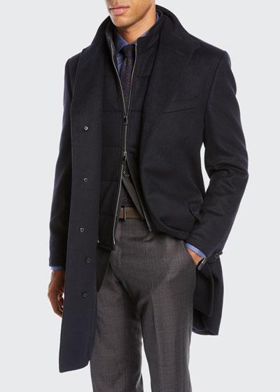 Men's ID Wool Top Coat, Navy