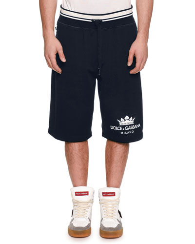 Men's Logo Drawstring Sweat Shorts w/ Side Zipper