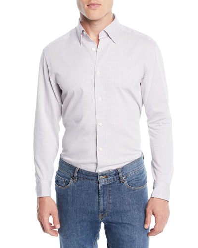 Men's Square-Print Sport Shirt, Dark Brown