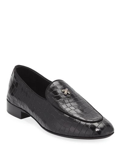 Men's Stamped Crocodile Leather Formal Loafer