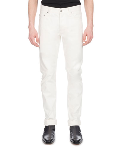 Men's Straight-Leg Cotton Jeans, White