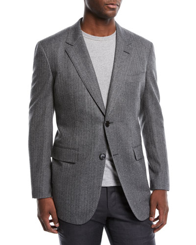Men's Two-Button Wool Herringbone Blazer