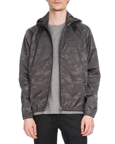 Men's Tonal-Print Zip-Front Blouson Jacket