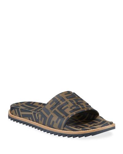 Men's Rubber Pool Slide Sandals w/ Raised Logo Detail
