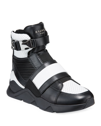 Men's High-Top Sneakers with Contrast Leather Trim