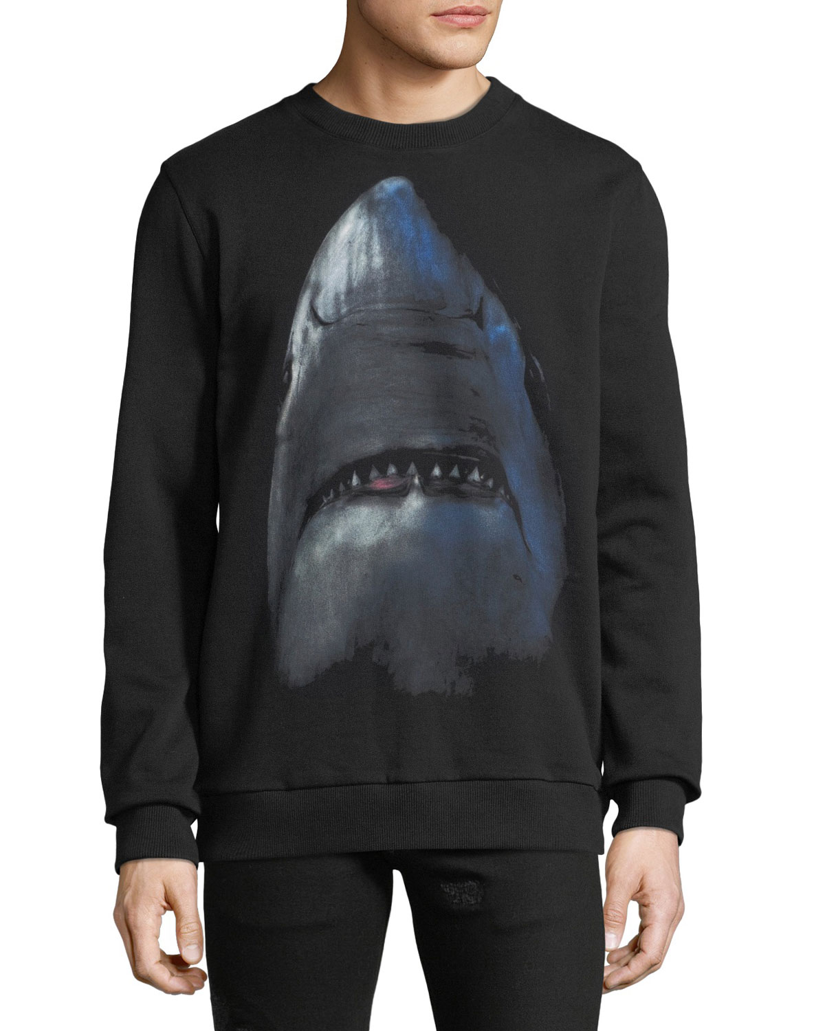 Men's Cuban-Fit Shark Graphic Sweatshirt