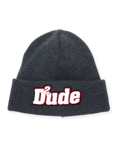 Men's Dude Patched Front Wool Beanie Hat