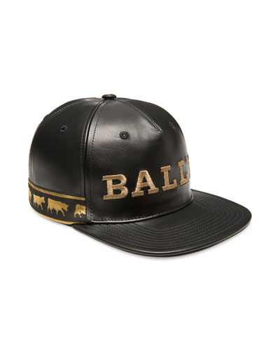 Men s Logo-Embroidered Leather Baseball Hat ba8a98afb331